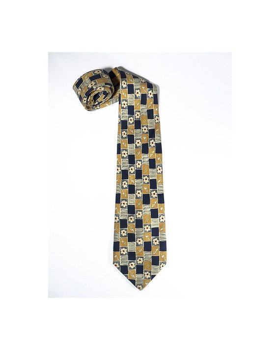 9c6fc1a8e9f061 Per L'Uomo Necktie, French Armand Thiery Silk Tie, Flowery Floral Pattern  Navy Blue Yellow Neck Tie