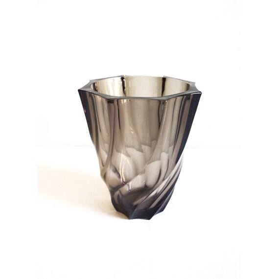 Vintage French Smoked Glass Vase Luminarc Flower Holder Etsy