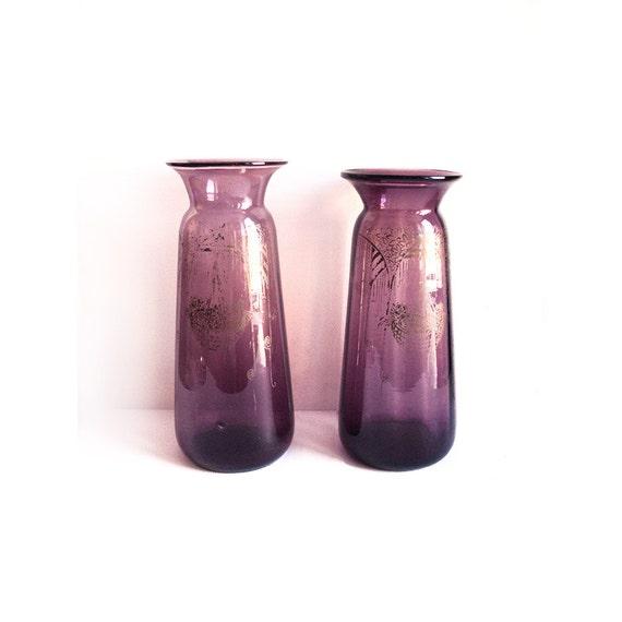 Pair Of Purple Vases Etched With Acid Art Nouveau Vase Etsy