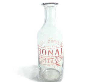 Red Ad Screen Printed Bottle, French Bonal Gentiane Quina Carafe, Exposition de Paris, Universal Exhibition of Paris 1889
