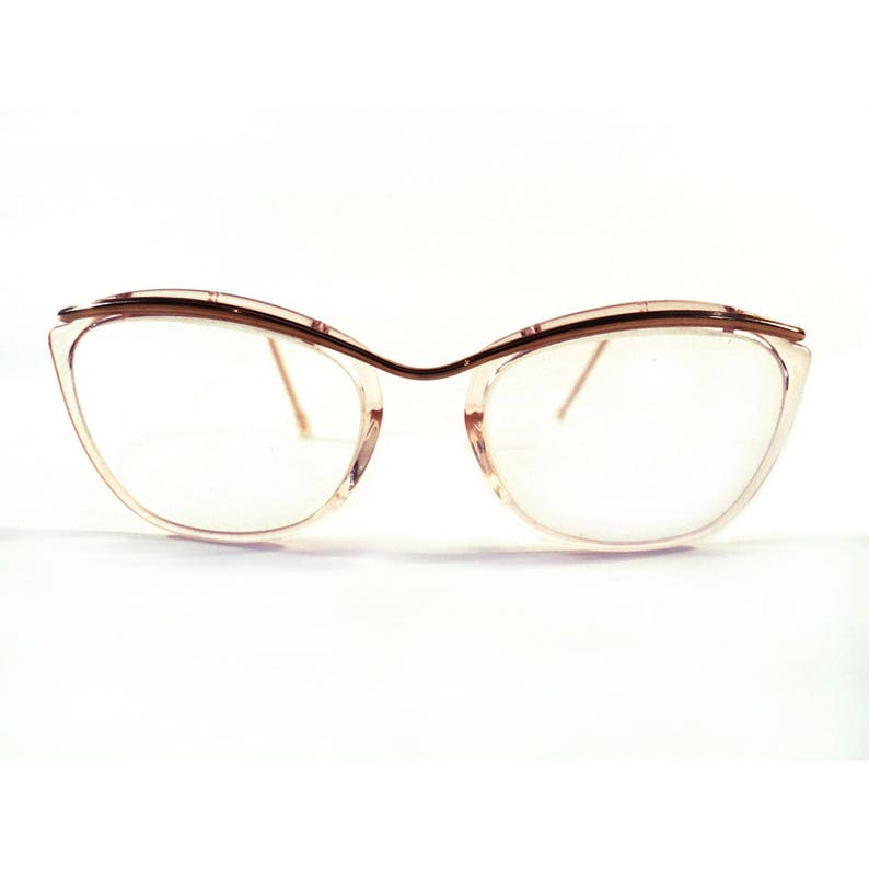 d8263c249cb Vintage French Gold and Pink Cat Eye Glasses