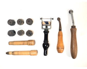 Vintage Leather Goods Tools, Craft Set, Rubber Stamp, Printing roller, Tracing Pounce Wheel