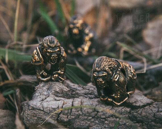 fighting gorilla paracord bead knife lanyard in bronze etsy