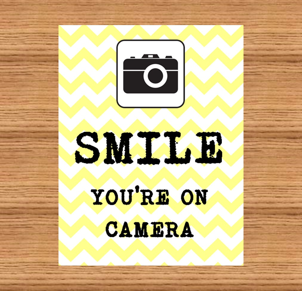 Smile You\'re On Camera Printable Sign PDF Instant | Etsy