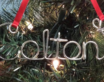Personalized wire name ornament,Colton ornament,Hoilday gift,custom ornaments