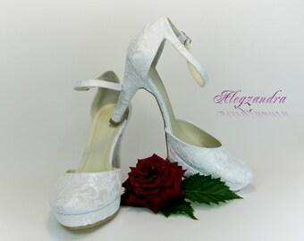 Lace Bridal Shoes, Platform Wedding Shoes, Bridesmaid Shoes, Ivory Wedding Shoes, White Wedding Shoes, Prom Shoes, Evening Shoes
