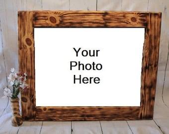 Custom Burnt Wood Frames, Wooden Picture Frame, Rustic Wood Frame, Rustic Home Decor, Rustic Photo Frame, Pine Wood Frame, Wood Anniversary