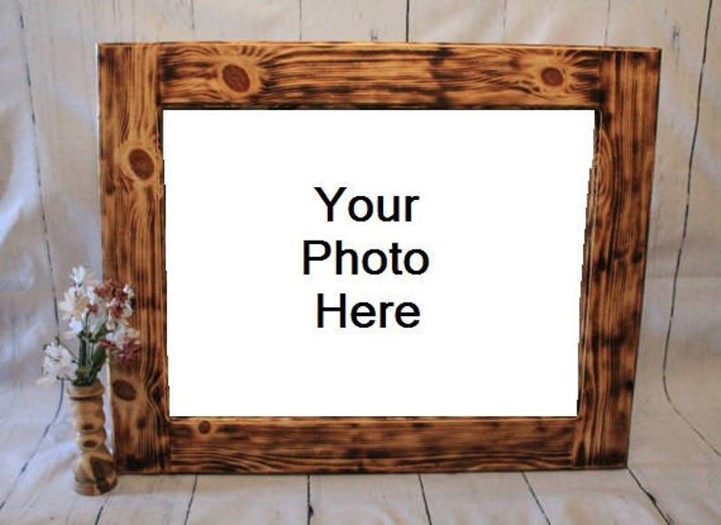 Custom Burnt Wood Frames Wooden Picture Frame Rustic Wood image 0