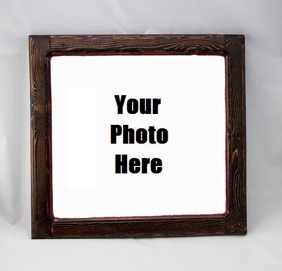 Wooden Picture Frame Custom Burnt Wood Frames Rustic Wood | Etsy
