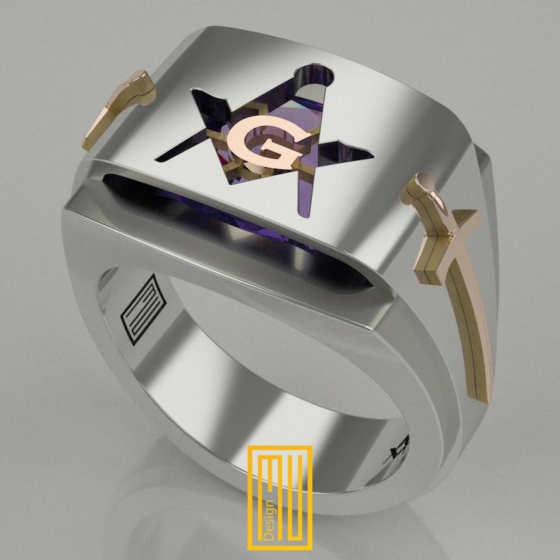 Masonic Ring with Amethyst Gemstone