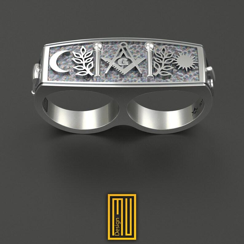 bc99ed5b5 Masonic Ring For Double Finger Unique Design for Men 925K   Etsy