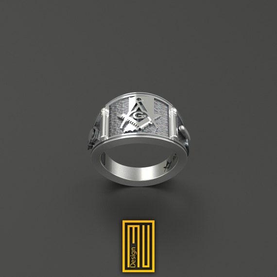 Los masones anillo caballeros de acero inoxidable templario anillo Masonic sello anillo símbolo G