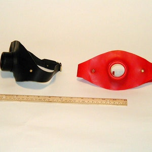 Latex Red Rubber Pump Up Gag on Black Headstrap