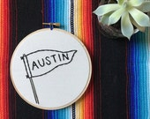 Pennant with City Name Embroidery Art in 5 Inch Hoop - Austin - City Pride - State Pride - Hometown - Flag - Banner