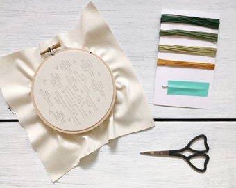 Embroidery Kit - 4 Inch Cactus Pattern Embroidery Kit - Cactus Embroidery - Beginner's Level - DIY