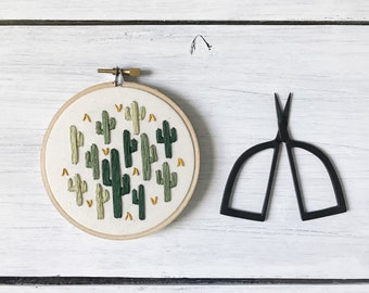 Cactus - Embroidery Hoop Art - All the Cacti - Embroidery Art in 4 Inch Hoop - Cactus - Cacti - Fiber Art
