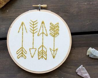 Embroidery Hoop Art - Follow the Arrows Embroidery Art in 5-inch Hoop - Bohemian - Wanderlust - Tribal - Arrows