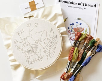 Embroidery Kit - Floral Pattern - Floral Kit - DIY Floral - Embroidery How To - Beginner Level - Intermediate Level - Patterns and How To
