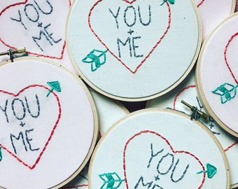 Valentine's Day Embroidery Hoop Art - You and Me Heart and Arrow Embroidery in 5-inch Hoop - Love - Boyfriend Girlfriend Gift - Galentine's