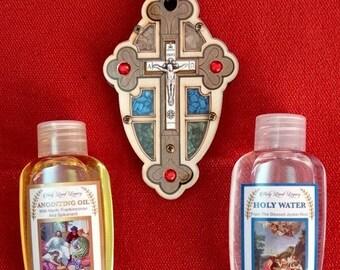 Set Acqua santa Olio Suolo Gerusalemme Incenso Regalo Giordania Fiume Terra...