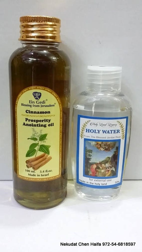 Cinnamon Prosperity Anointing Oil 100 ml,3 4 fl oz From Holyland Jerusalem  and Jordan river holy water 50 ml,1 7 oz
