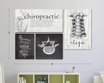 Chalkboard Chiropractic Definition and Spinal Display Wall Set