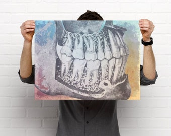 Watercolor Teeth Artistic  Dental Artwork