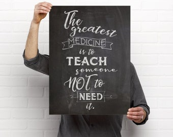 The Greatest Medicine Quote Chalkboard Wellness Drawing