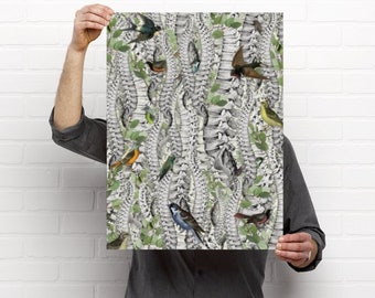 Eucalyptus Forest of Spines Engulfed in Vintage Birds