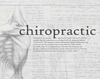 Black and White Chiropractic Definition Drawing