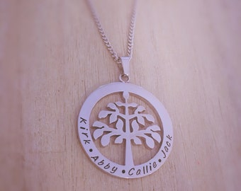 Personalised Name Necklace - Tree of life name necklace.