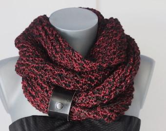 Snood en laine noir et rouge bordeaux fil métallisé avec lacet en cuir noir  - Echarpe tube - écharpe infinie - grosse écharpe - maxi snood cc8dab00d08