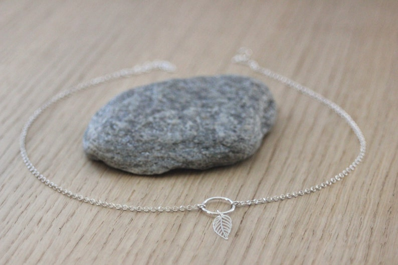 Minimalist Sterling silver choker necklace pendant ring and feather ethnic style