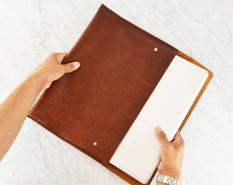 """Leather Cover for 13"""" Macbook / Laptop Sleeve / Portfolio / 13"""" Laptop Case / Handstiched Leather Folio made of Horween leather."""