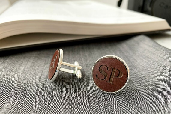 Anniversary Valentines Day Personalized Leather Gift custom cufflinks Gift for Men Personalized Cufflinks with Leather Gift for Him
