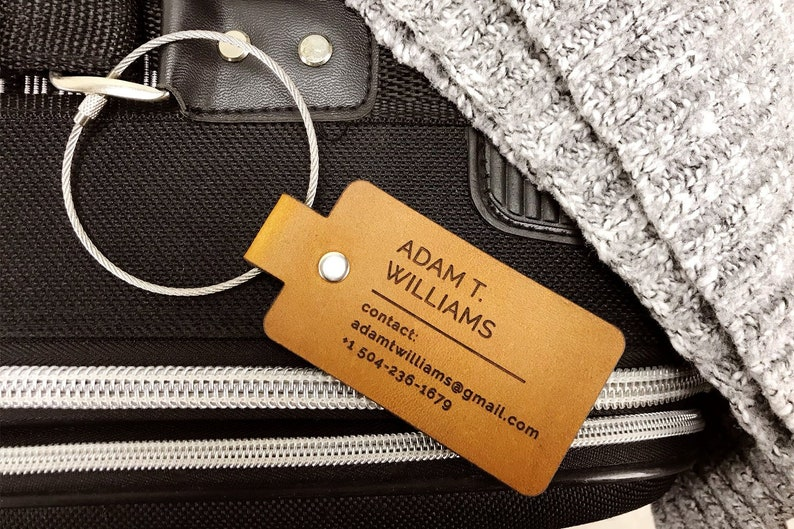 Personalized Leather Luggage Tag Custom Baggage Tag Travel image 0