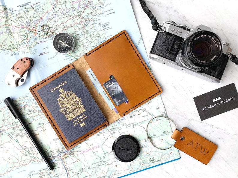 Leather Passport Cover Personalized Leather Passport Holder image 0
