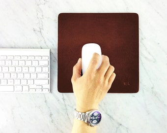 "Leather Mouse pad - large size / Elegant Personalized Mouse pad, 8.5""x 8.5"" Custom Leather Mouse pad, Gift, Handmade Leather Mousepad"