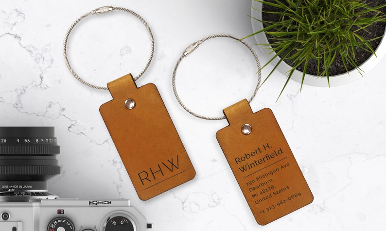 Personalized Leather Luggage Tag Travel Gift Airplane Tag image 0