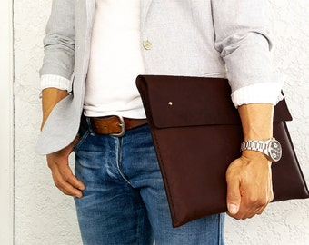 """Leather Laptop Cover for 15"""" Macbook, Leather Laptop Sleeve, Gifts for Him,  Gift for Men, Leather Portfolio, 15"""" Laptop Case"""