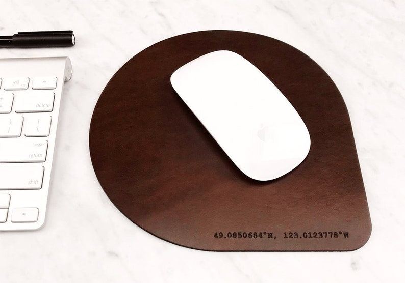 Personalized Leather Mouse Pad Initials Coordinates Mouse image 0