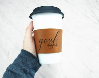 Reusable Coffee Sleeve / Coffee Cozy - Tea Cozy / LEATHER COFFEE SLEEVE