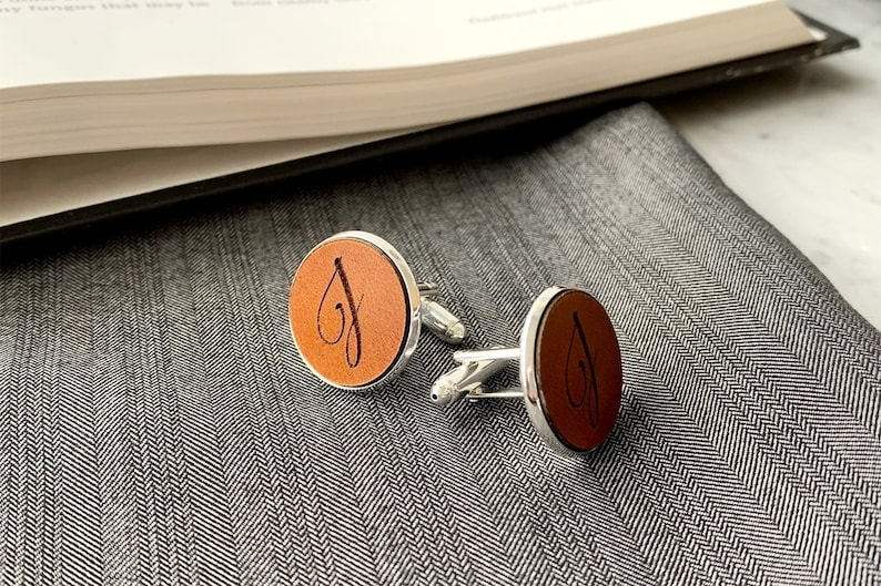 Personalized Cufflinks with Leather Gift for Him Groom Best image 0