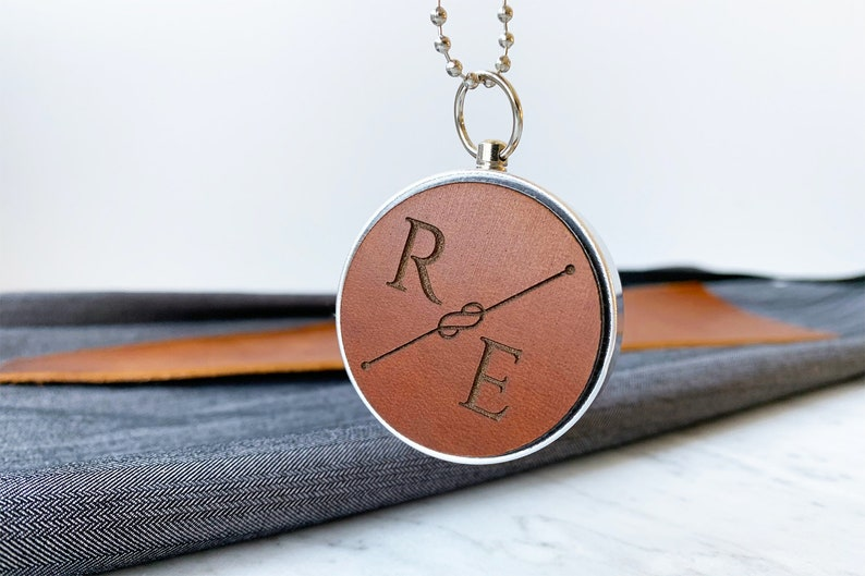 Personalized Compass Engraved Compass Personalized Leather image 0