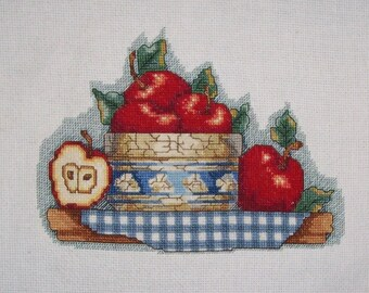 "Completed Counted Cross Stitch ""Bowl of Apples"""