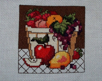 "Completed Count Cross Stitch ""Bowl of Fruit #2"""