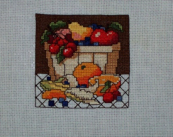 "Completed Counted Cross Stitch ""Bowl of Fruit #1"""
