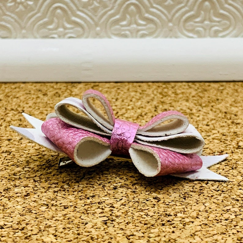 Triple Layer Metalic Pink /& White Print Faux Leather Bow Three Layer Bow Hair Clip
