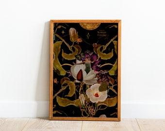 EMERGE Powerful Woman Floral Collage Art Print, Feminine Room Decor, Empowering Botanical Feminine Art Print