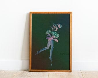 BLOOM Black Floral Collage Art Print, Surreal Affirmation Wall Decor, Feminine Black Art Printable